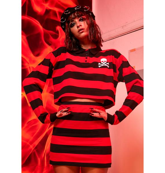 Current Mood Anarchy Academy Striped Skirt Set