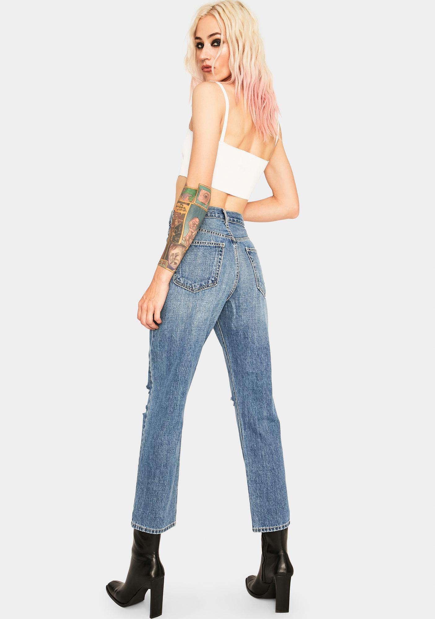 Just Black Denim High Rise Mom Jeans