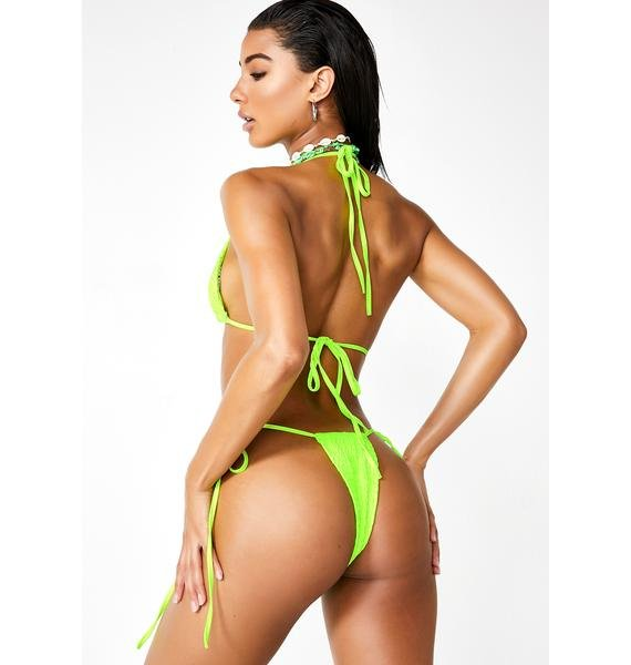 Lime Take A Retreat Bikini Set