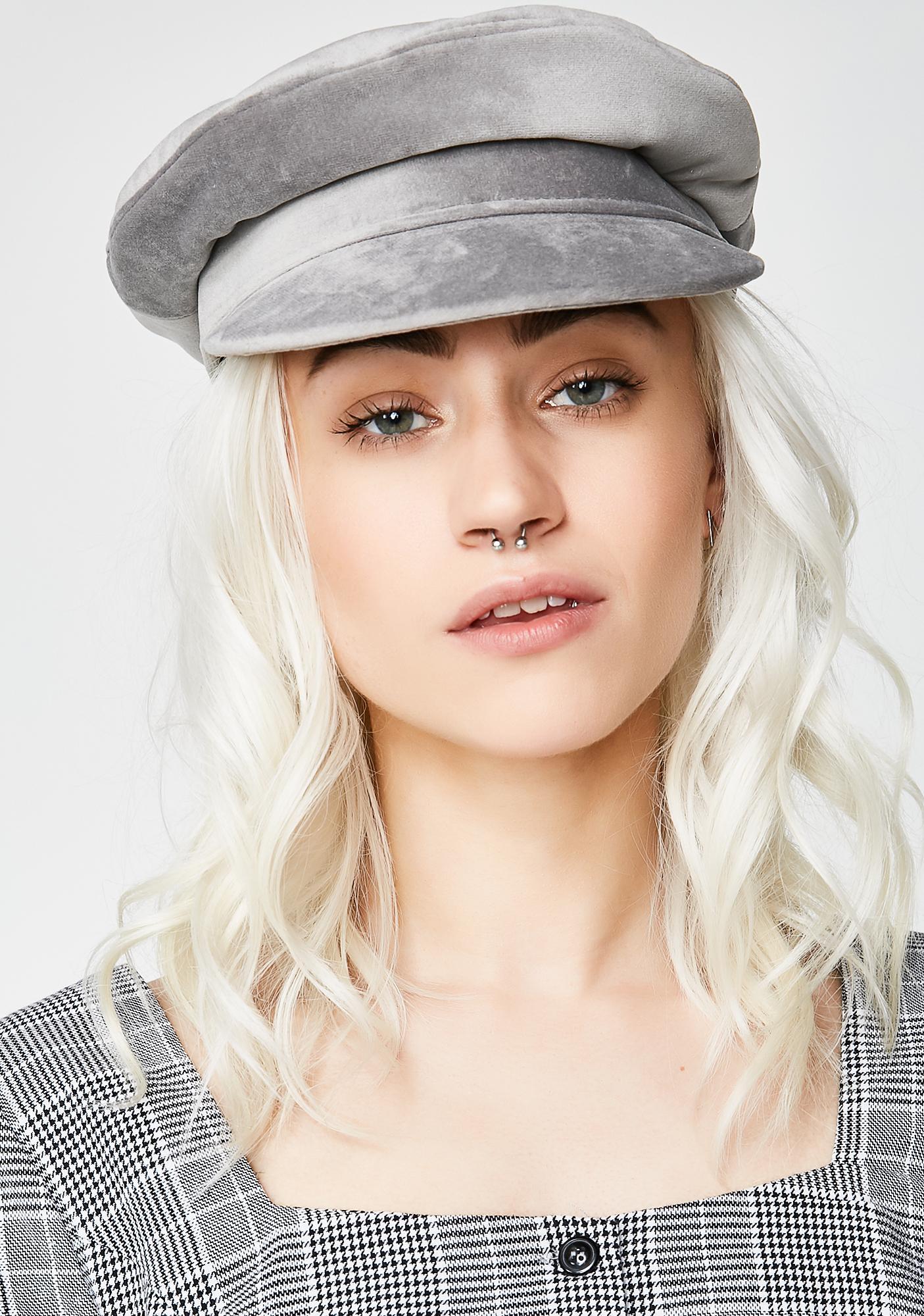 Luna Lone Wolf Velvet Biker Hat