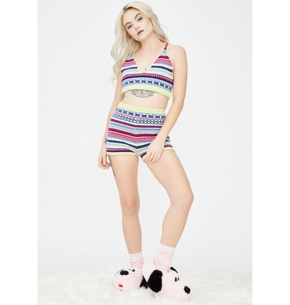 Knitty Kitty Fair Isle Knit Bralette