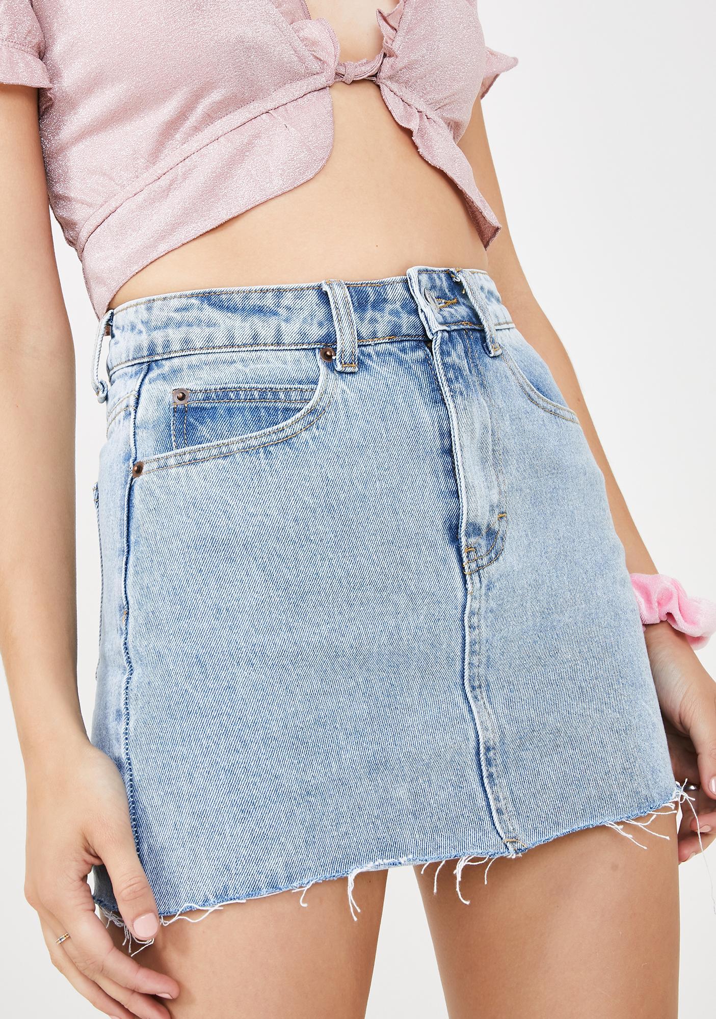 Momokrom Light Wash Raw Hem Denim Skirt