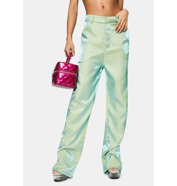Daisy Street Iridescent Green Relaxed Straight Trousers