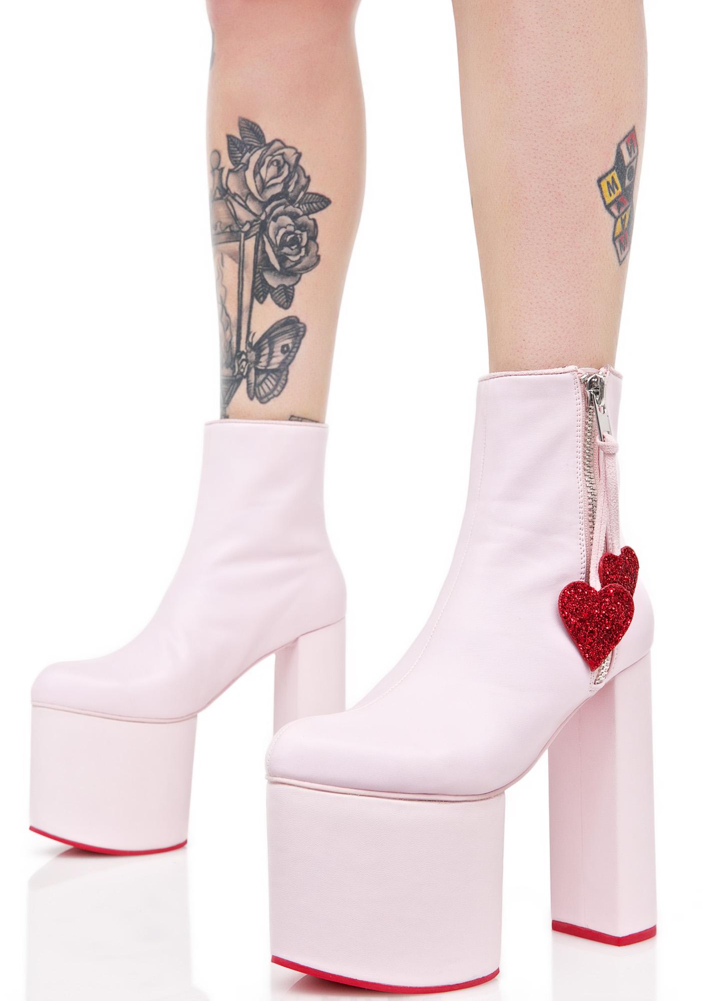 Sugar Thrillz Pink Chunky Boots