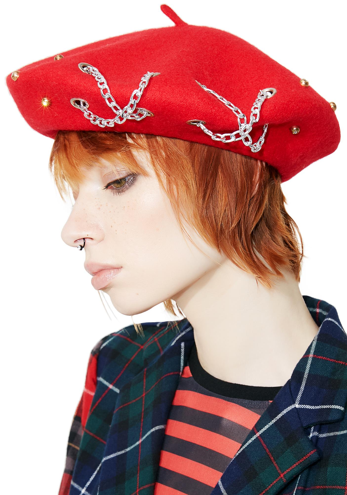 250ed77bfeff9 Red Chain Stud Beret