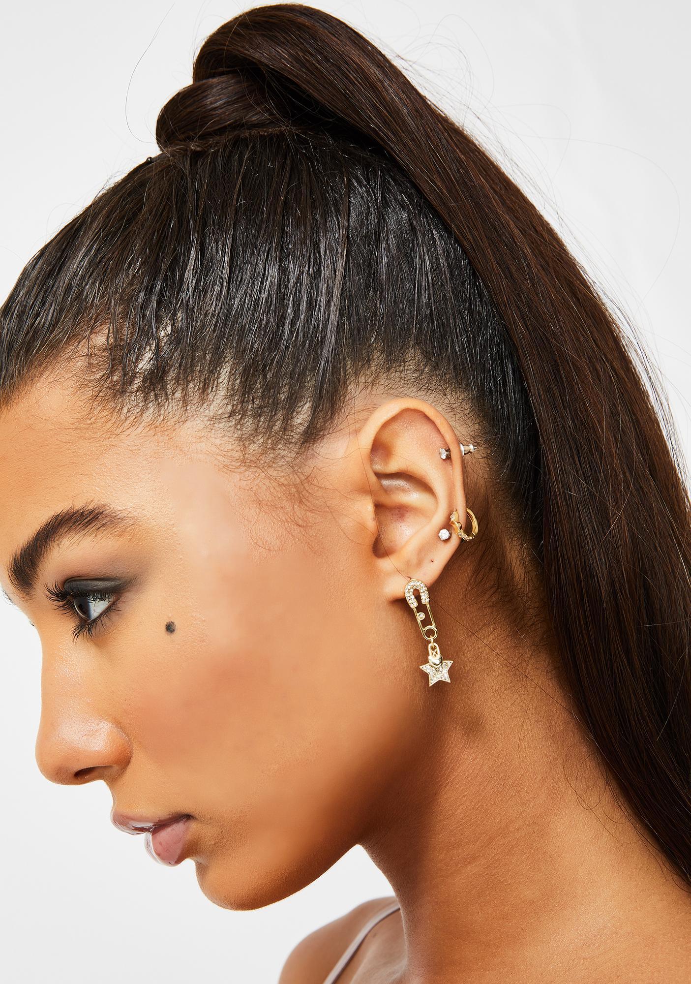 Sharp Starlet Rhinestone Earrings