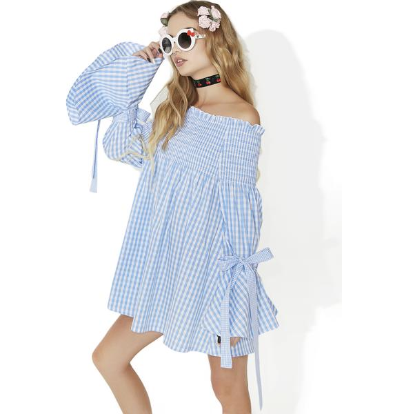 one spo Gingham Check Off Shoulder Dress