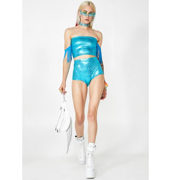 Get Crooked Turquoise Foil Hot Pants