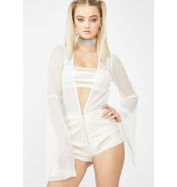 Elsie & Fred Route 66 White Bell-Sleeved Playsuit