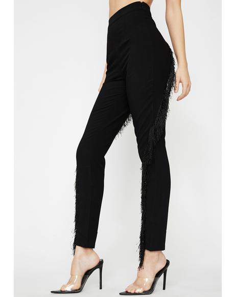 Fringe Off High Waist Pants
