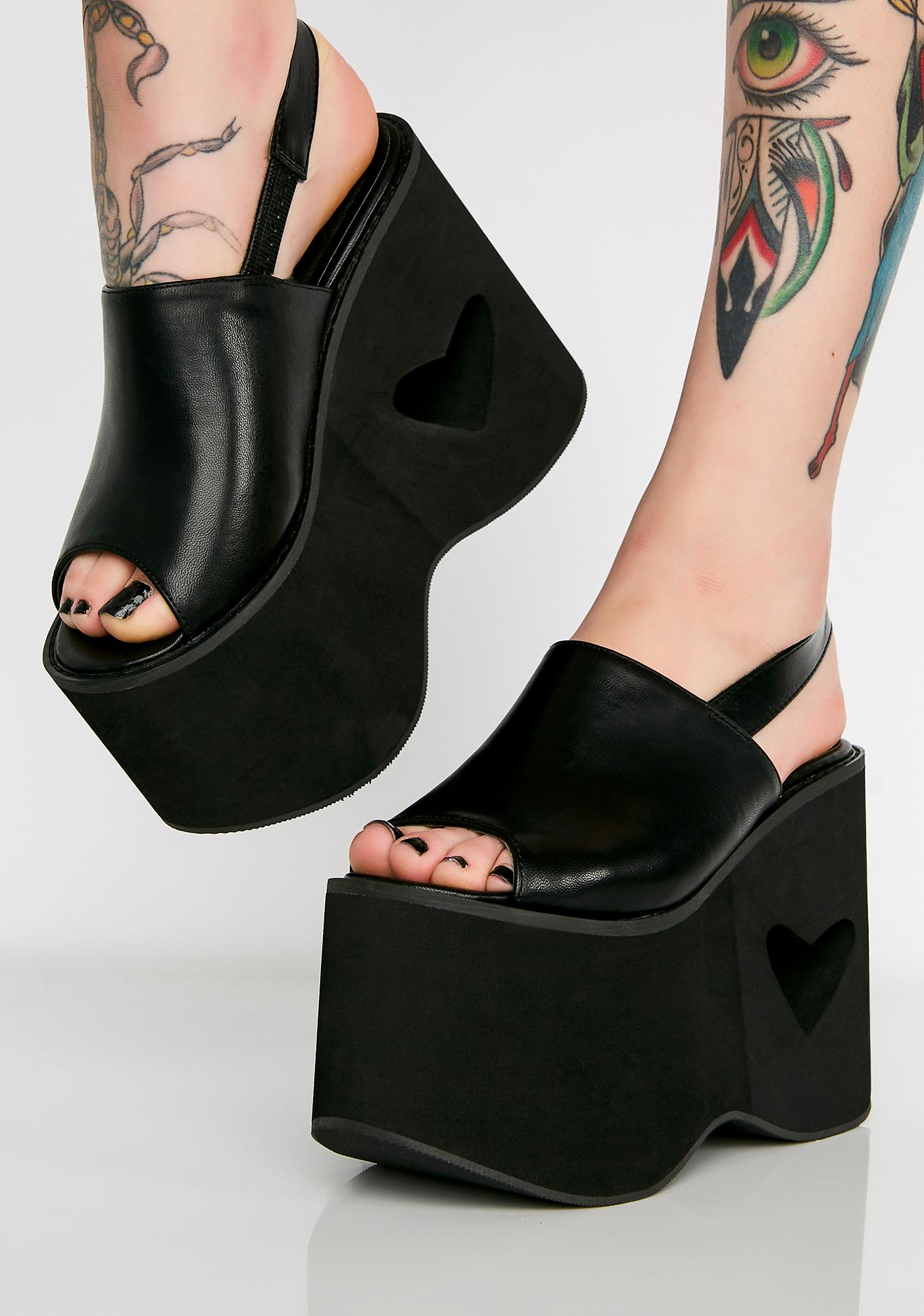 Dark Sweet Love Heart Cut Platforms