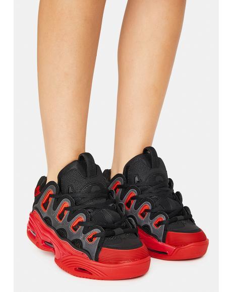 Black & Red D3 2001 Skate Shoes