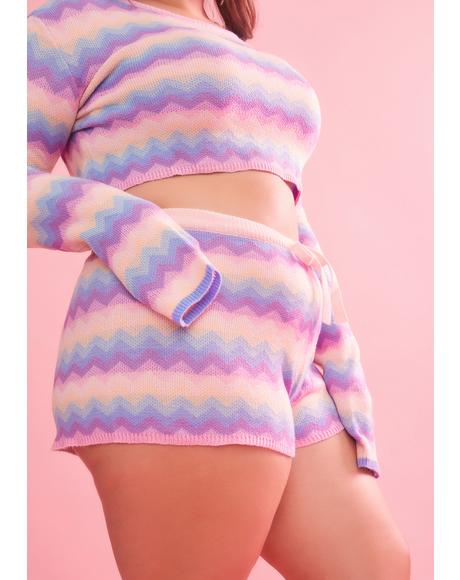Just Follow The Rhythm Rainbow Knit Shorts