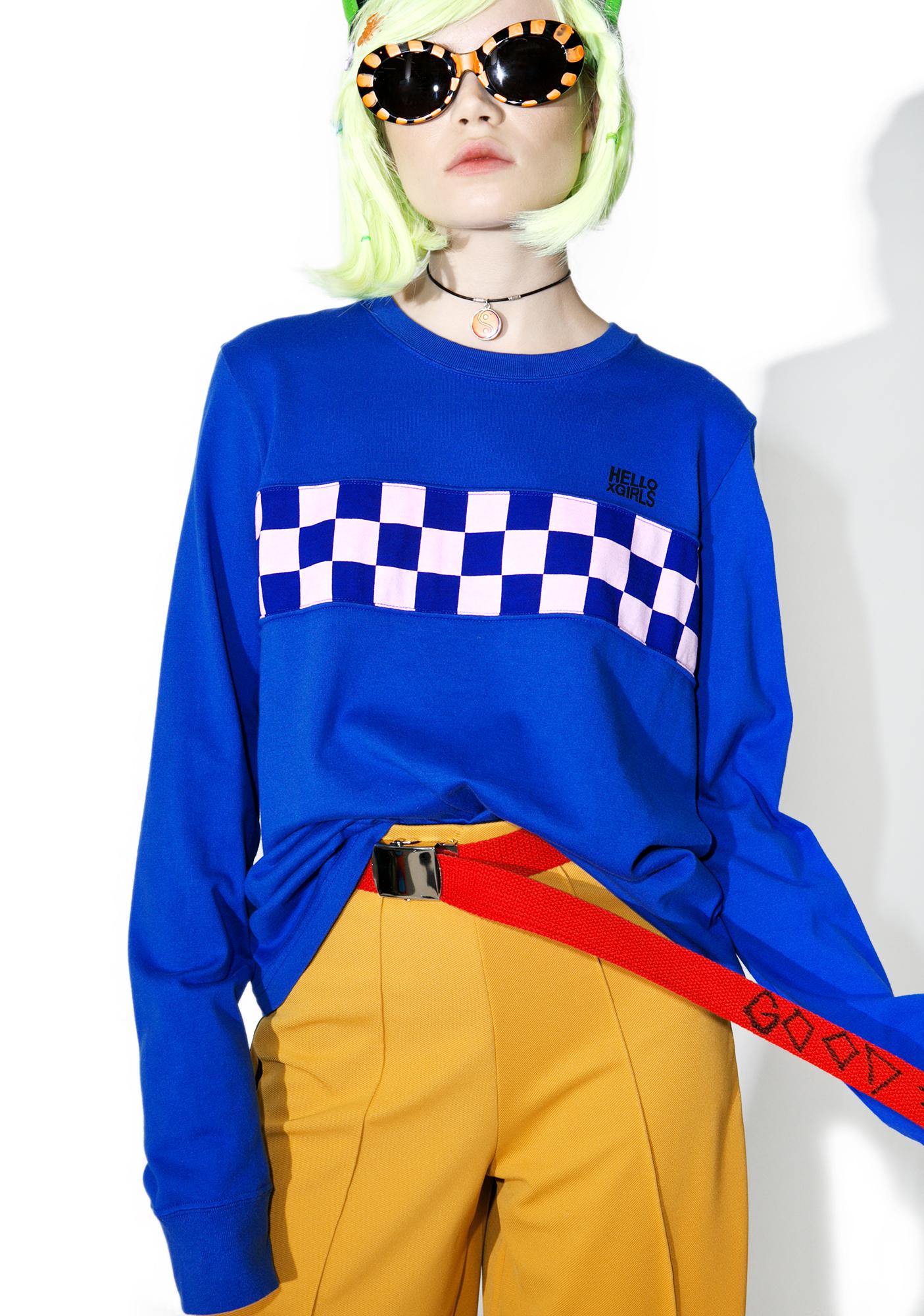 x-Girl Checkered Panel Long Sleeve Tee