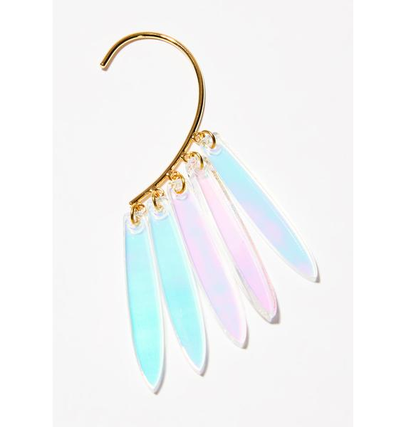 ISLYNYC Iridescent Fringe Ear Hook