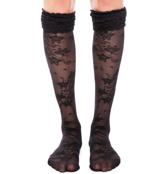 Pretty Polly Pretty Polly x Alice & Olivia Lace Ruffle Top Knee Highs