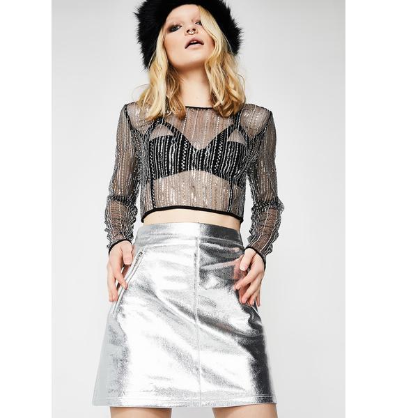 Glamorous Silver Glitzy Babe Mini Skirt