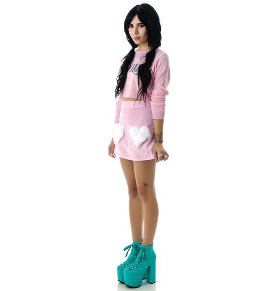 Sweet Fur Hearts Velvet Mini Skirt