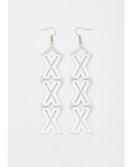 Silver Mirror XXX Earrings