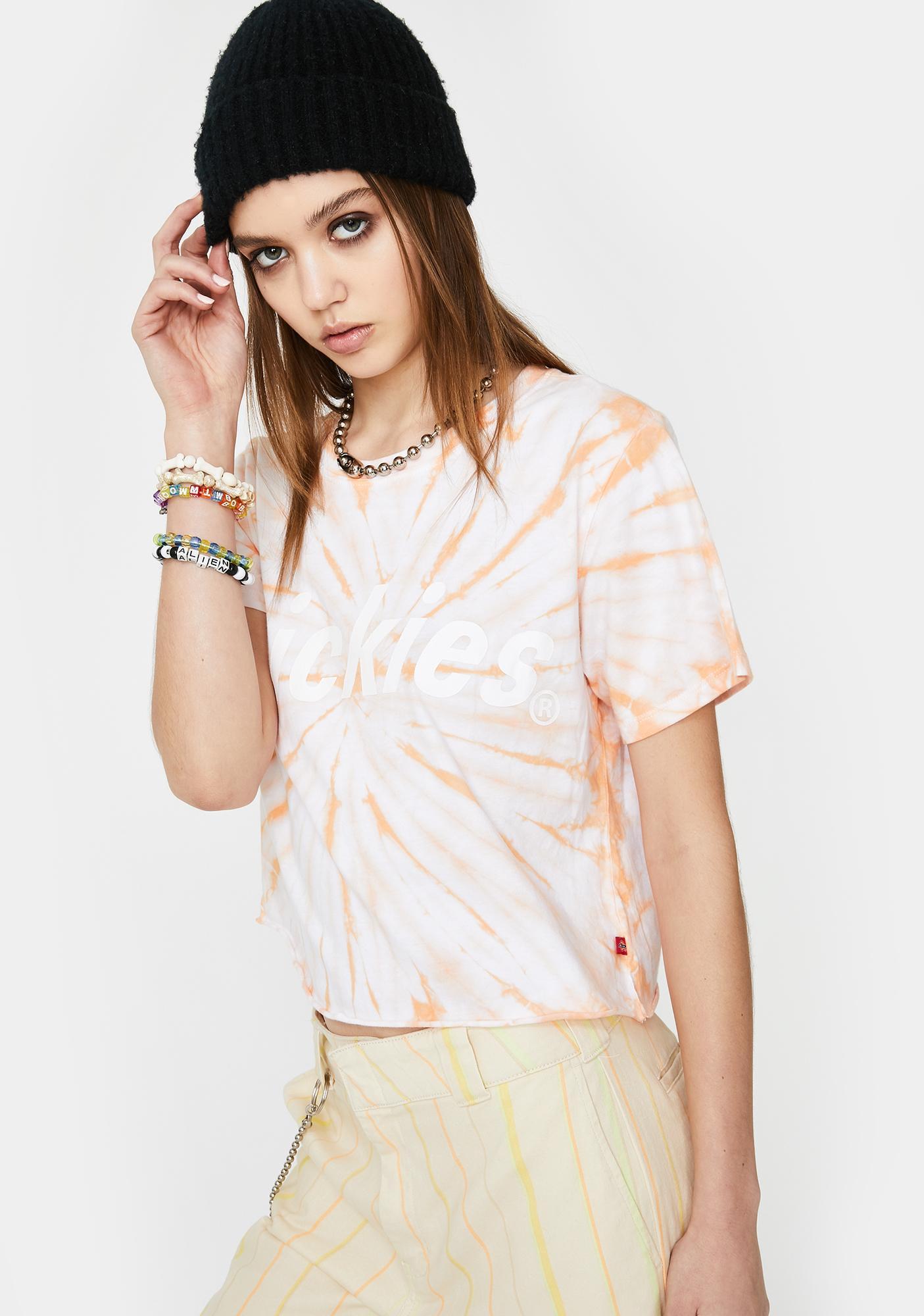 Dickies Girl Apricot Tie Dye Logo Crop Tee