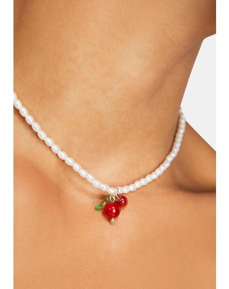 Berry Dewdrop Cherry Pearl Choker