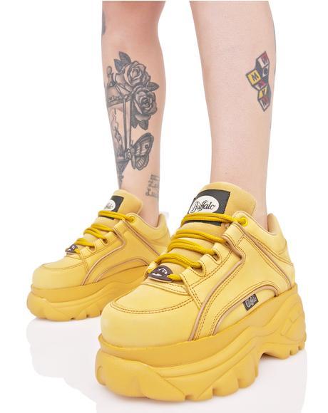 Nubuck Beige Platform Sneakers