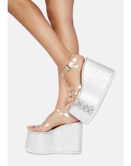 Cracked Platform Sandals