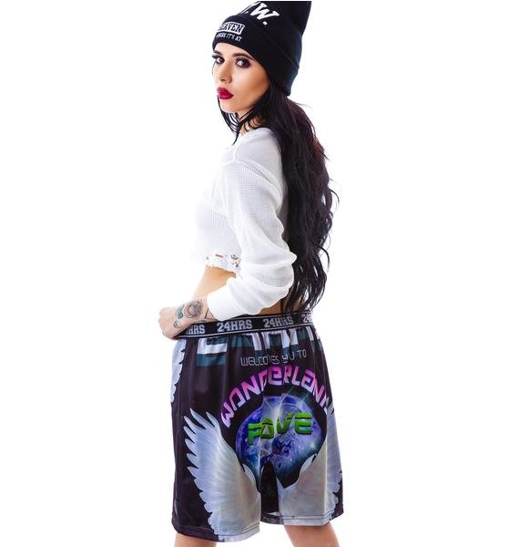 24HRS Wonderland Photo Print Mesh Basketball Shorts