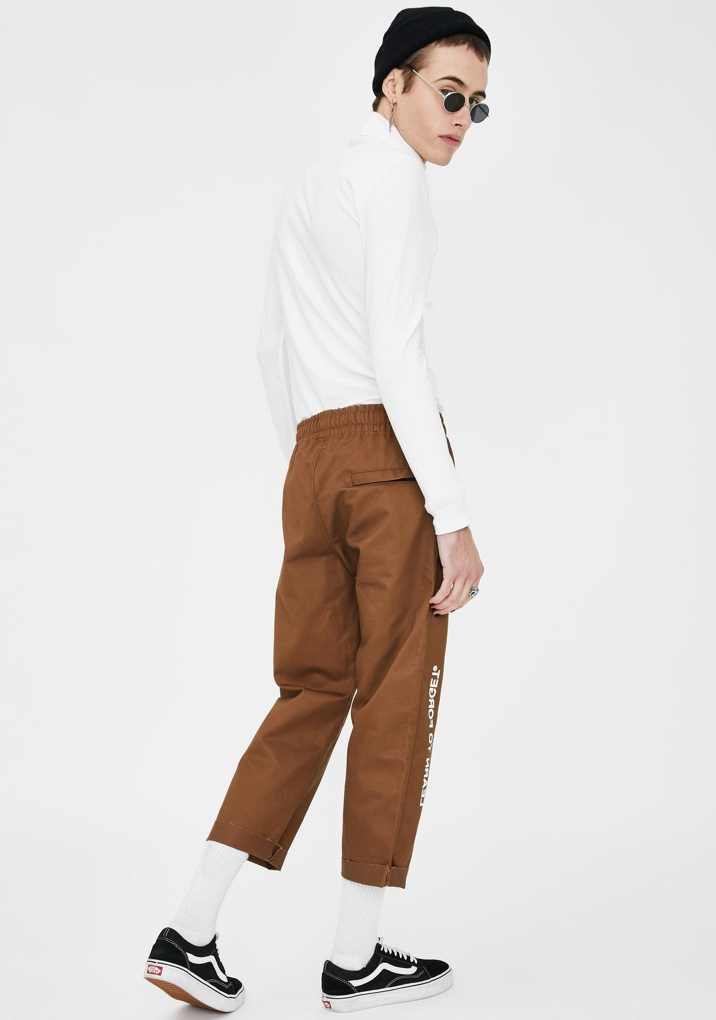 Learn To Forget Brown Logo Cropped Chino Pants