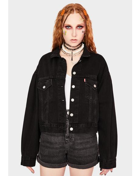 Lady Di Pleated Trucker Jacket
