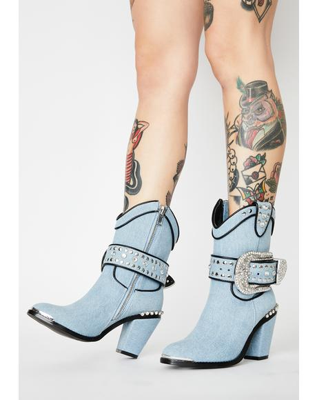 Chambray Sheriff Shine Cowboy Boots