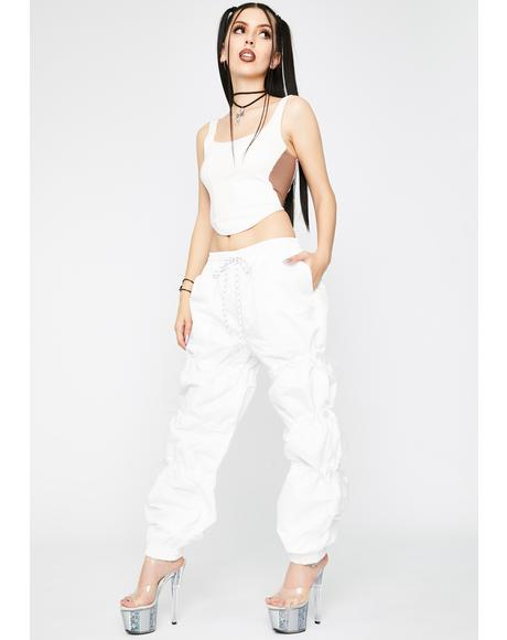White Toggle Cuffed Joggers