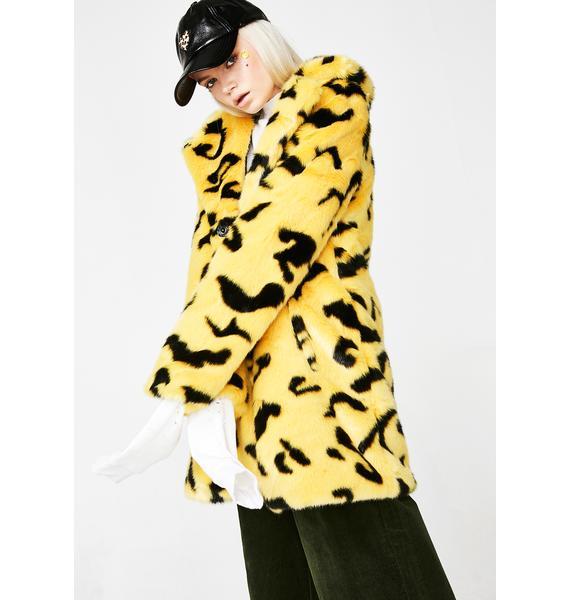 Lazy Oaf Yellow Leopard Coat