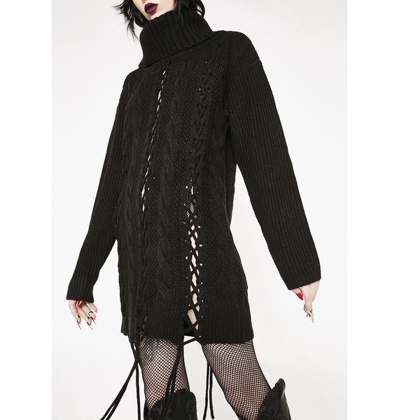 Killstar Zora Lace Up Knit Sweater