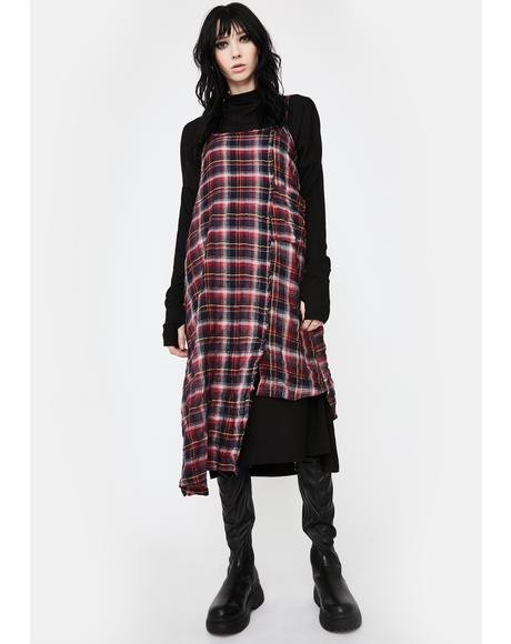 Plaid Hayley Linen Midi Dress
