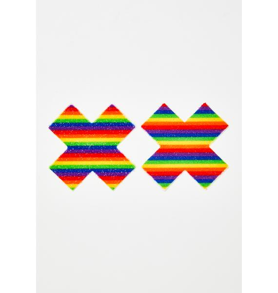 Pastease Rainbow Glitter Cross Pasties