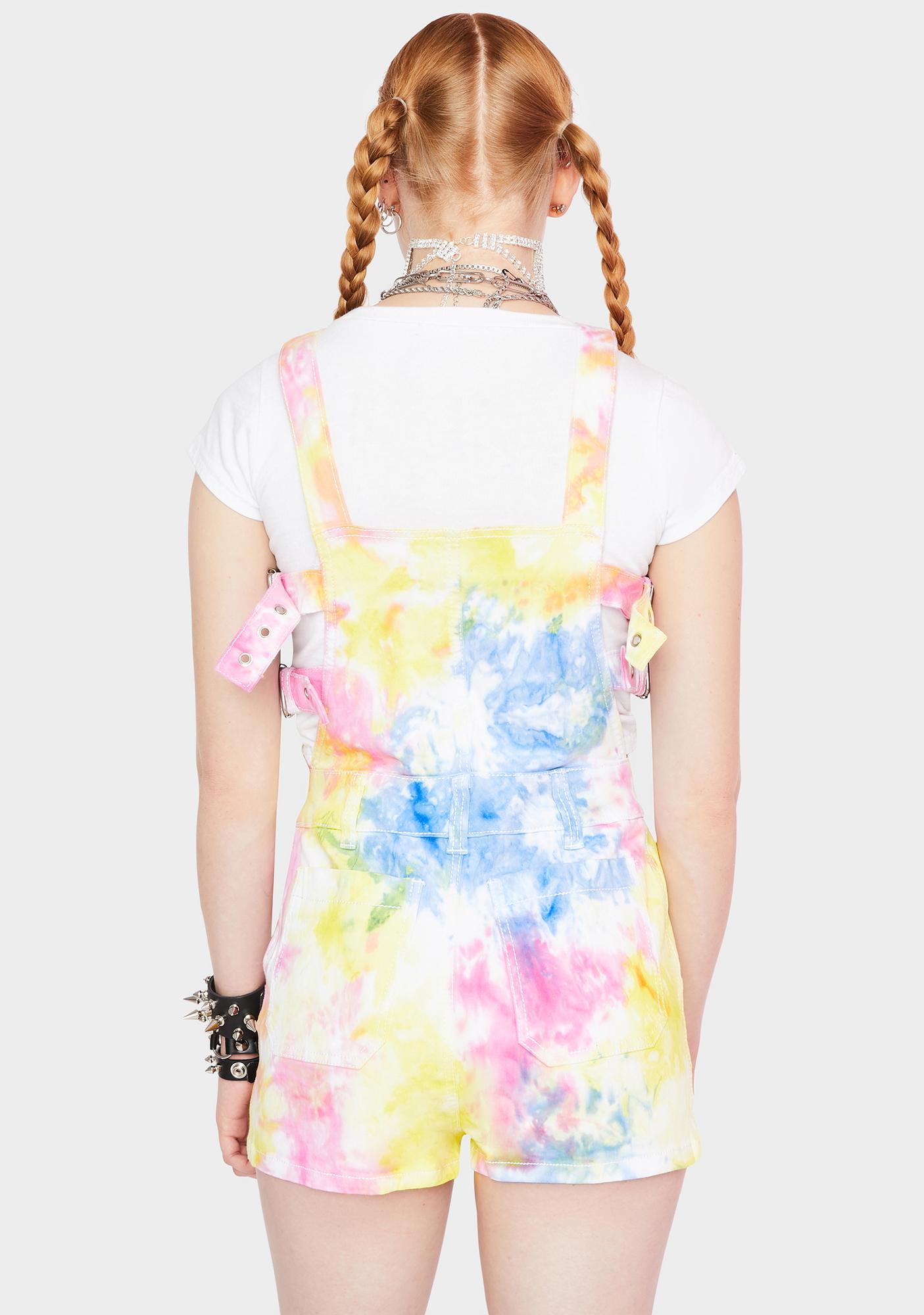 Tripp NYC Tie Dye Buckle Overalls