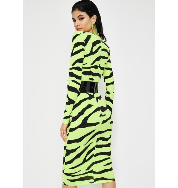 Neon Jungle Zebra Midi Dress