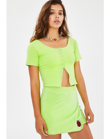 Miss Ladybug Velour Skirt