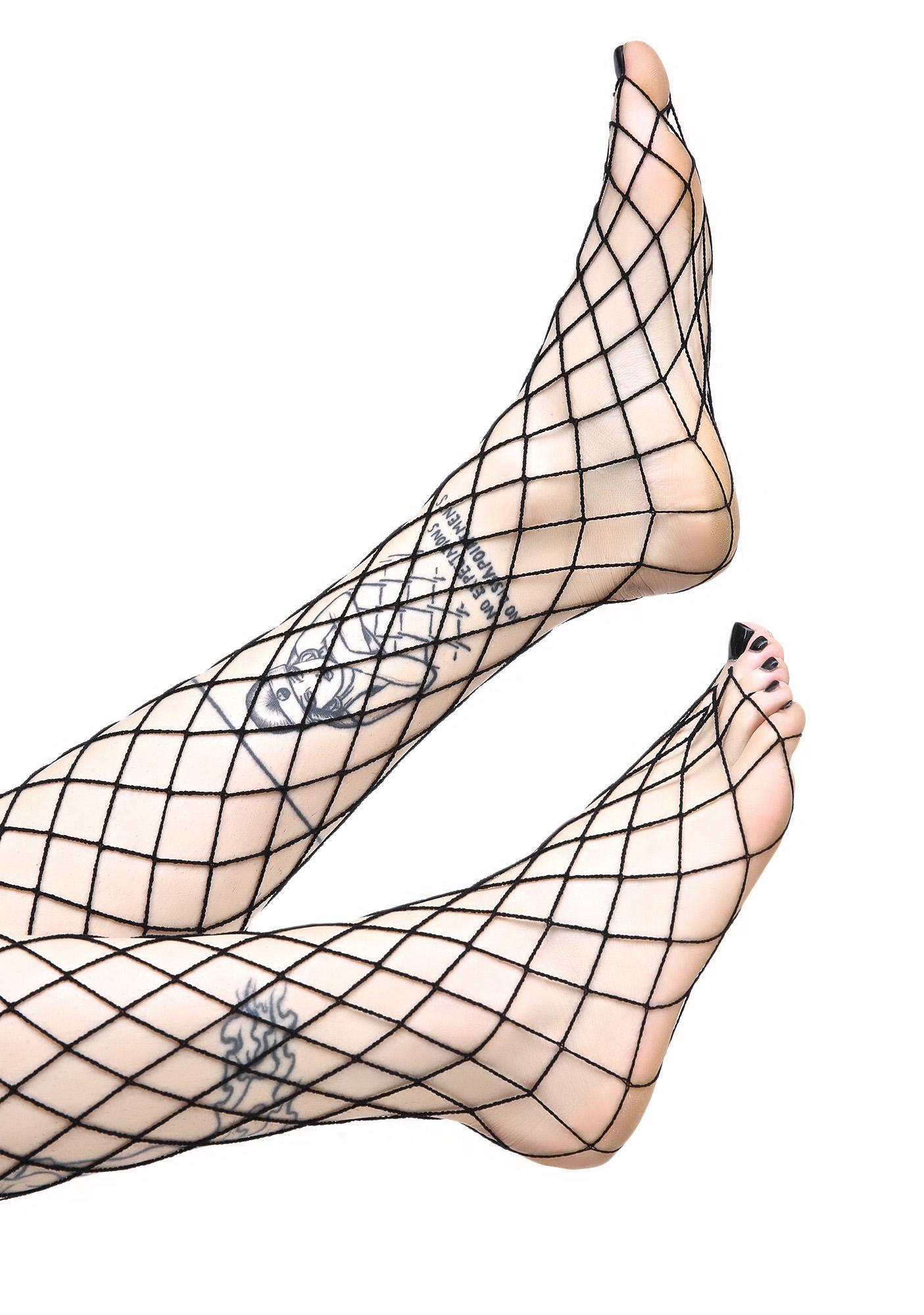 Worship Me Black Fence Net Thigh Highs