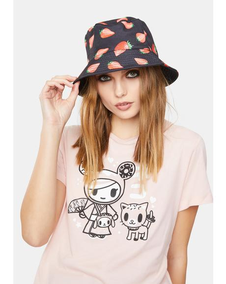 Ur My Jam Strawberry Print Bucket Hat