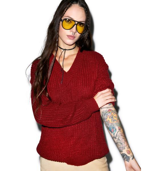 Glamorous Red Handed V-Neck Sweater