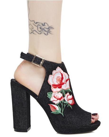 Fairest Fable Embroidered Platform Heels