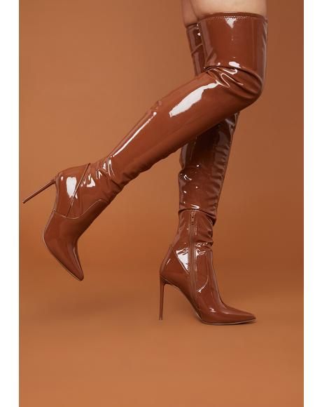 Brown Patent Viktory Knee High Boots