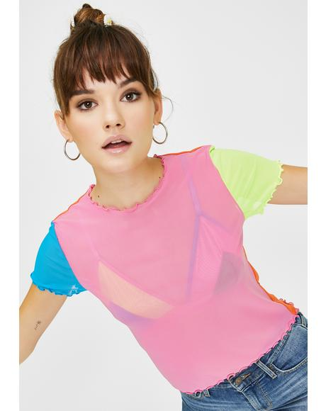 Fluro Colour Block Mesh Tee