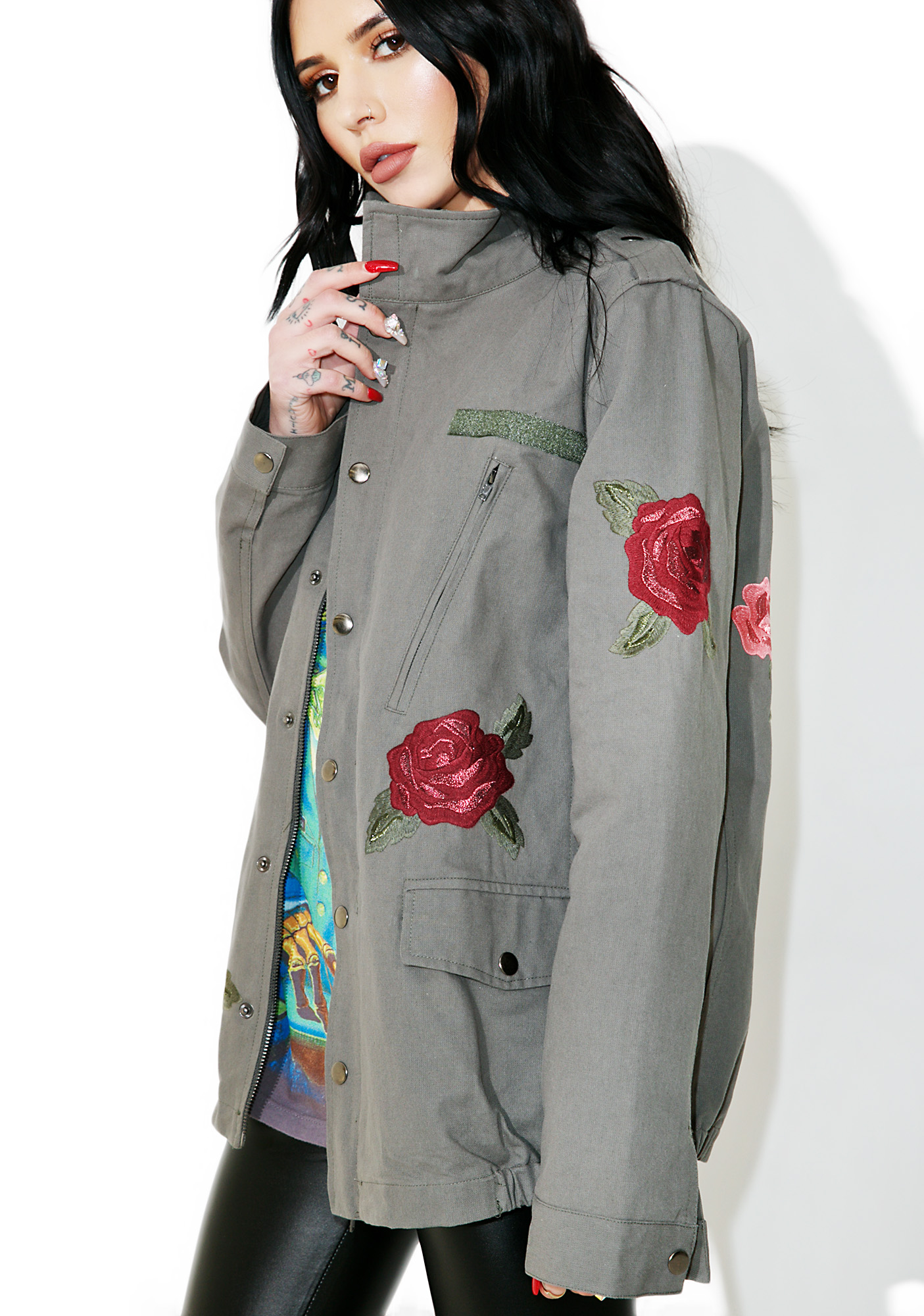 Rose Patch Military Jacket