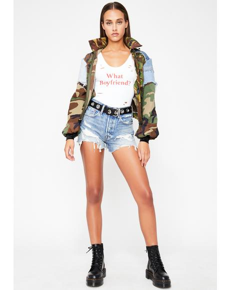 Baddie Wild Thots Distressed Bodysuit