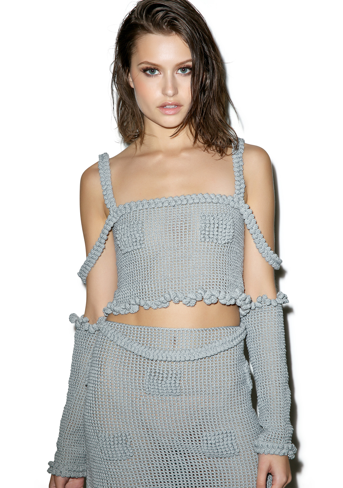 Maria ke Fisherman Candy Mesh Crochet Crop Top With Arm Warmers