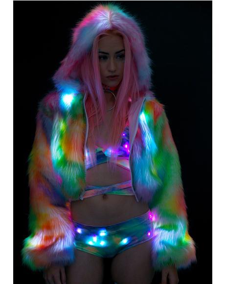 Rainbow Flashing Lights Cropped Jacket
