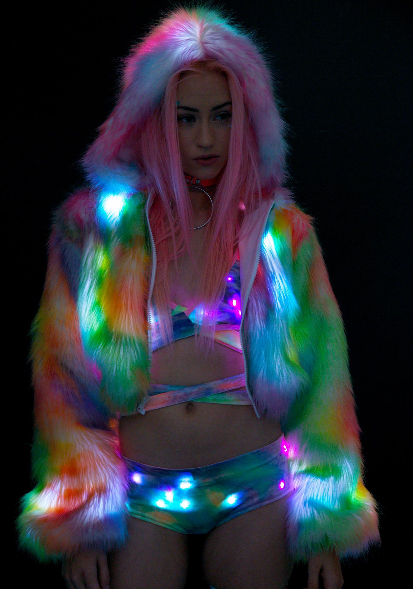J Valentine Rainbow Flashing Lights Cropped Jacket